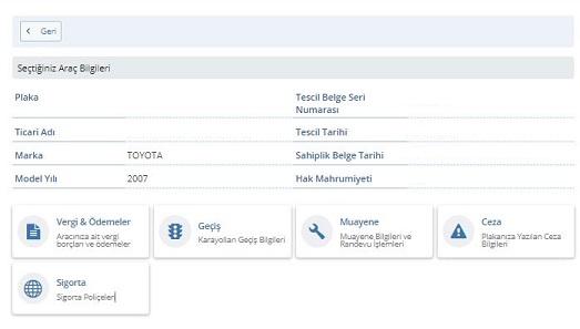 e devlet araç muayene bilgileri